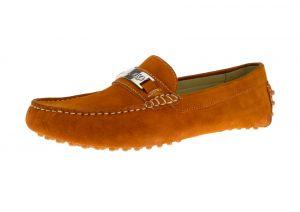 Orange Slip-on Loafer Drefinno Comfort Leather Driving Shoe