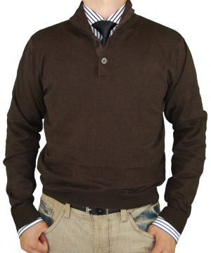 Mens Button Mock Neck Sweater Cotton Cashmere Touch Slim Fit Chocolate by Luciano Natazzi