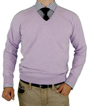 Mens V-neck Cotton Sweater Cashmere Touch Slim Fit Lavender by Luciano Natazzi