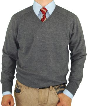 Mens V-neck Merino Wool Sweater Soft Like Cashmere Trim Fit Charcoal by Luciano Natazzi
