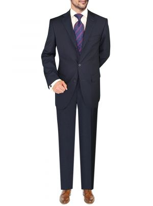 Three Button Jacket Side Vents Pleated Pants Navy by Giorgio Napoli
