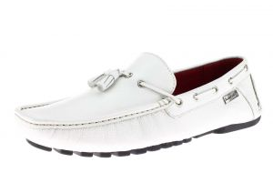 Mens Air Grant Driver Leather Shoes Tassel Driving Slip-on Loafer White by Luciano Natazzi