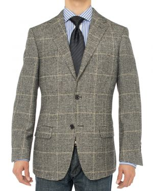 Camelhair Blazer Modern Fit Jacket Charcoal Plaid by Luciano Natazzi