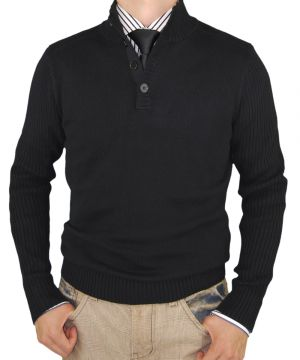 Mens Classic Fit Mock Neck Ribbed Fitted Sweater Premium Cotton Black by Luciano Natazzi