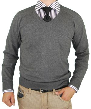 Mens V-neck Cotton Sweater Cashmere Touch Slim Fit Charcoal by Luciano Natazzi