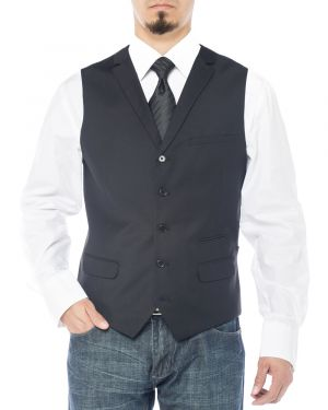 Mens Notch Lapel Casual Vest Modern Fit Dress Suit Waistcoat Black by Salvatore Exte