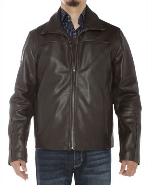 Mens Classic Full Grain Cow Leather Jacket Brown by Luciano Natazzi