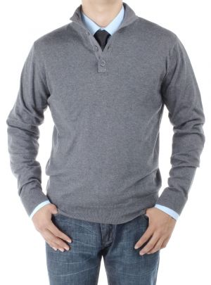 Mens Mock Neck Elbow Patch 14 Button Sweater Relaxed Fit Charcoal by Luciano Natazzi