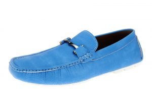 Blue Slip-on Loafer Designer Faux Leather Driving Shoe