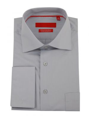 Mens GV Executive Modern Spread Collar French Cuff Cotton Dress Shirt Light Gray by DTI DARYA TRADING