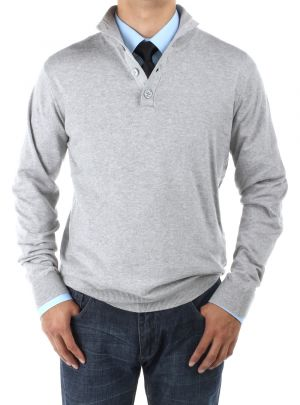 Mens Mock Neck Elbow Patch 14 Button Sweater Relaxed Fit Light Gray by Luciano Natazzi