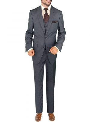 BB Signature Italian Vested Wool 3 Piece Jacket Pant Waistcoat French Blue by DTI DARYA TRADING