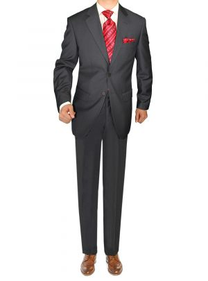 Modern Two Button Jacket Flat Front Pants Charcoal Grey by Giorgio Napoli