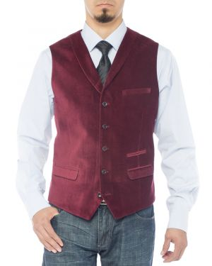Mens Shawl Lapel Velvet Waistcoat Modern Fit Dress Suit Vest Burgundy by Luciano Natazzi