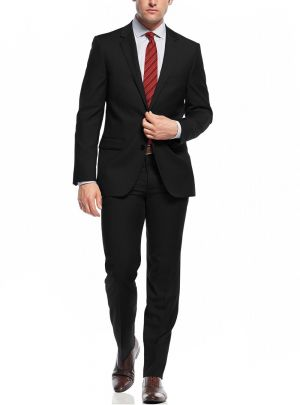 Two Button Slim Fit Working Holes Black by Nicoletti