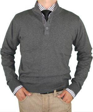 Mens Classic Fit Button Mock Neck Sweater Elbow Cotton Cashmere Touch Charcoal by Luciano Natazzi