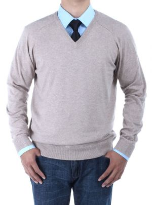 Mens V-neck Cotton Sweater Relaxed Fit Taupe by Luciano Natazzi