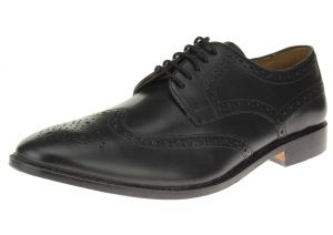 Black Lace-up Wingtip Oxford Full Grain Leather Dress Shoes SL301