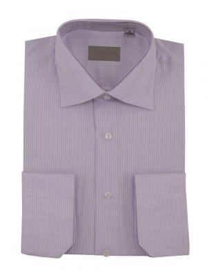 Mens Dress Shirt Spread Collar Cotton Convertible Cuffs Narrow Stripe 4 Colors Lavender by Darya Trading