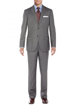 Two Button Side Vent Jacket Flat Front Pants Windowpane Gray by Salvatore Exte