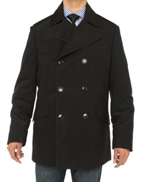 Mens Double Breasted Top Coat Modern Fit Pea Black by Luciano Natazzi