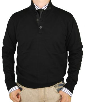 Mens Button Mock Neck Sweater Cotton Cashmere Touch Slim Fit Black by Luciano Natazzi
