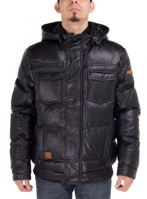 Mens Puffer Coat Tec Removable Hooded Bomber Down Jacket Black by Luciano Natazzi