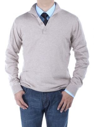 Mens Mock Neck Elbow Patch 14 Button Sweater Relaxed Fit Taupe by Luciano Natazzi