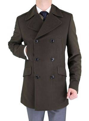 Mens Stretch Wool Blend Trim Fit Pea Coat Brown by Luciano Natazzi