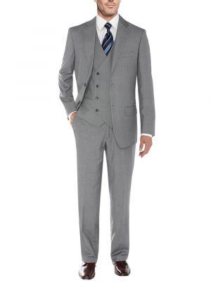 Vested Three Piece Blazer Jacket Dress Vest Plus Pant Db Gray by Salvatore Exte