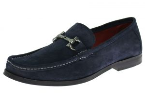 Mens Handmade Suede Leather Shoes Lucca Slip-On Loafer Navy by Luciano Natazzi