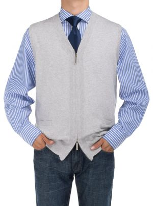 Mens BB Signature Full Zip Cotton Sweater Vest Relaxed Fit Gray by DTI DARYA TRADING