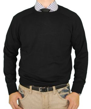 Mens Crew Neck Cotton Sweater Cashmere Touch Slim Fit Black by Luciano Natazzi