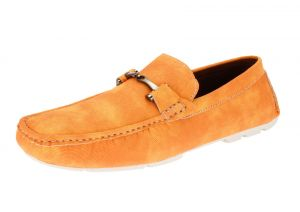 Orange Slip-on Loafer Designer Faux Leather Driving Shoe