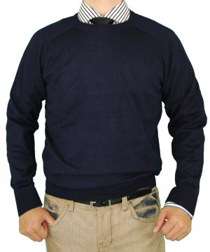 Mens Classic Fit Crew Neck Premium Cotton Sweater With A Cashmere Touch Navy by Luciano Natazzi