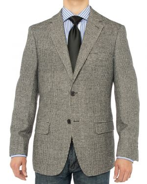 Camelhair Blazer Modern Fit Jacket Black White Check by Luciano Natazzi