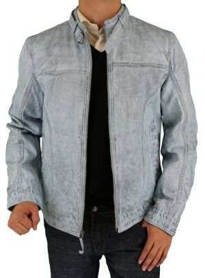 Mens Picasso Leather Trim Fit Racer Jacket Light Blue by Luciano Natazzi