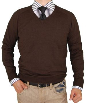 Mens V-neck Cotton Sweater Cashmere Touch Slim Fit Chocolate by Luciano Natazzi