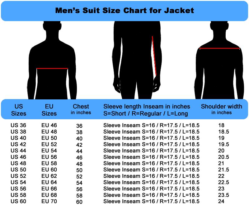 Mens Size Chart for Suit Jacket